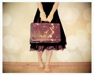 suitcase and girl