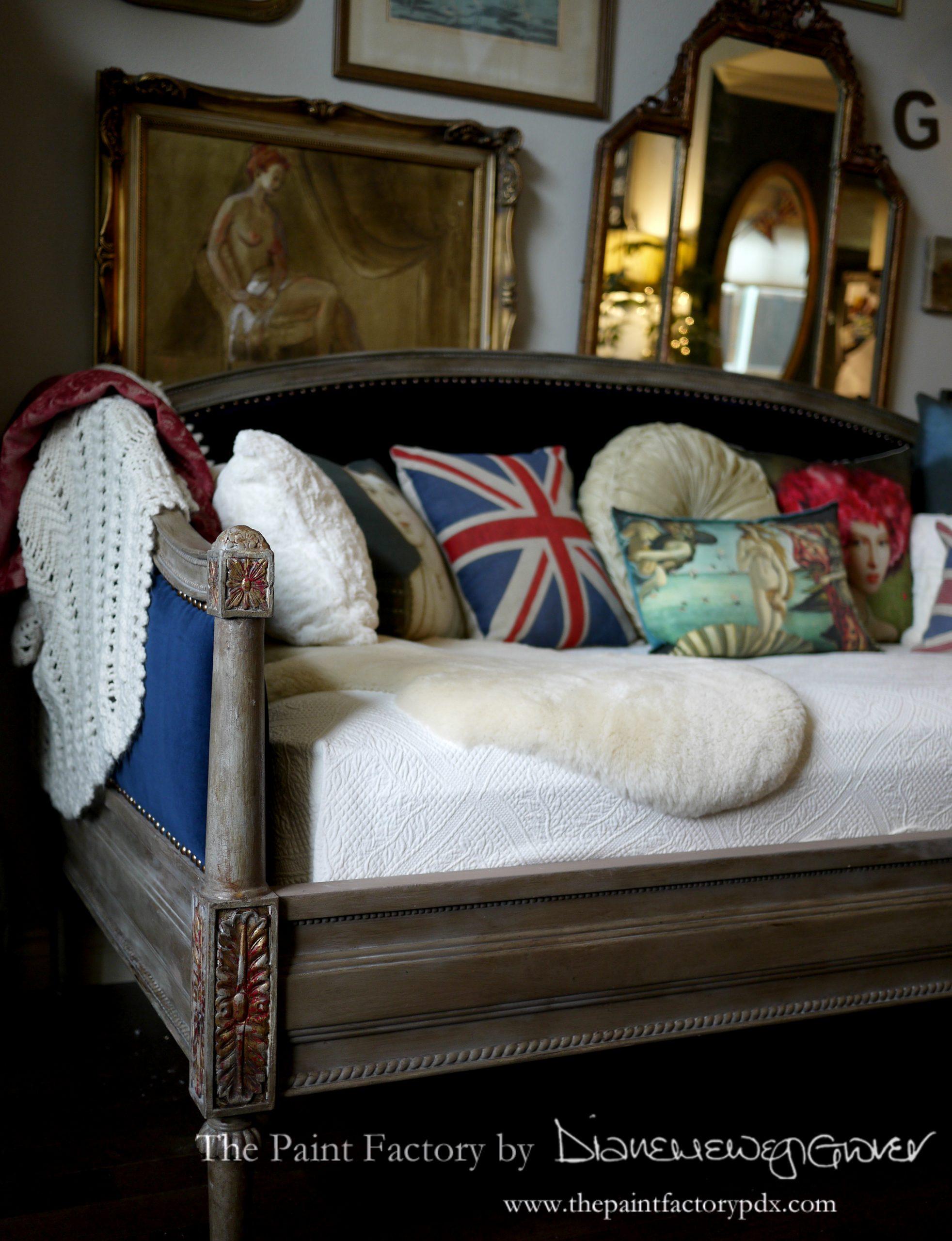 Elegant Upholstered Velvet Daybed Nail Head Trim